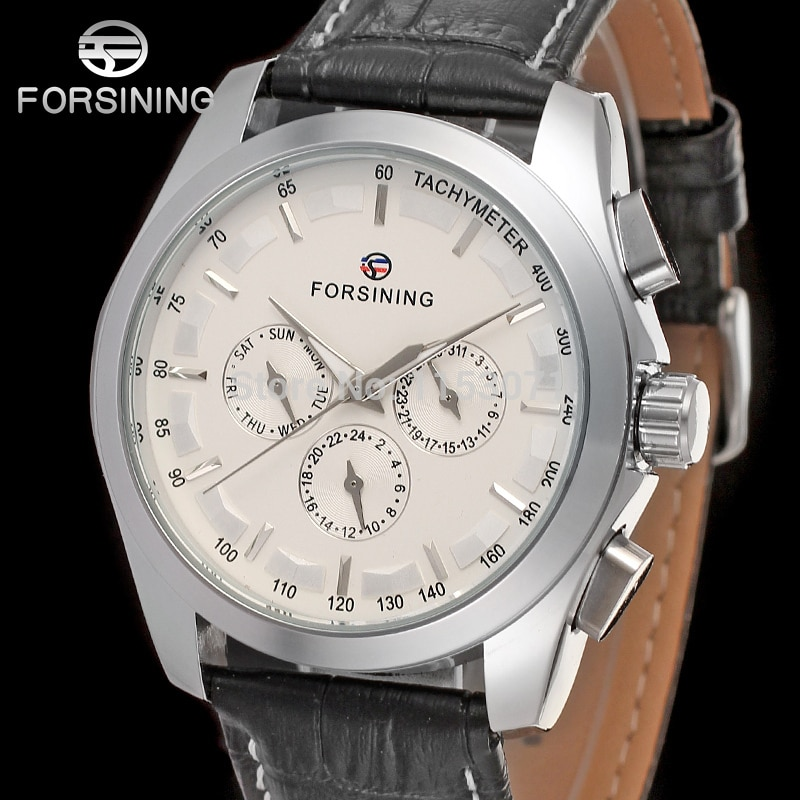 FSG6625M3S1 Best price new Forsining Automatic men watch factory classic black genuine leather strap free shipping wit  gift box