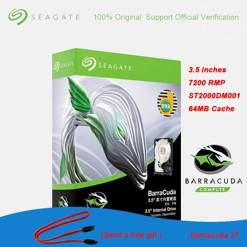 سيجيت الأصلي 2 تيرا بايت سطح المكتب HDD الداخلية القرص الصلب محرك أقراص 3.5 ''7200 RPM SATA 6 جيجابايت/ثانية القرص الصلب للكمبيوتر ST2000DM008