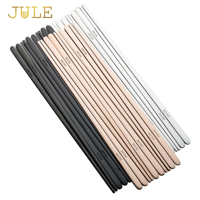 5 pares de Palillos Chinos coreanos de acero inoxidable 304 Palillos Chinos japoneses de Metal negro para comida palillo plano duradero