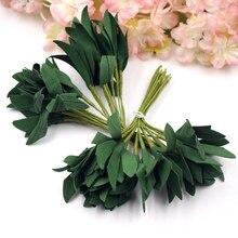 Bouquet de feuilles de mousse vertes artificielles   20 pièces/lot, accessoires décoratifs de fête de mariage, Fleurs dorées, fournitures artisanales de bricolage pour Scrapbook