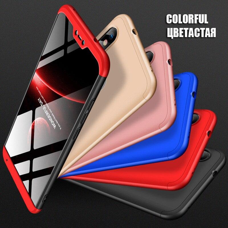 360 caso protetor para xiaomi redmi 7 nota 7 caso de plástico duro para xiaomi redmi 6a 6 5a 5 plus caso de vidro temperado capa completa