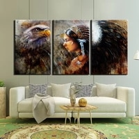 Toile mur Art photos decor a la maison cadre 3 pieces tribu guerrier aigle peintures salon HD imprime mode art affiche