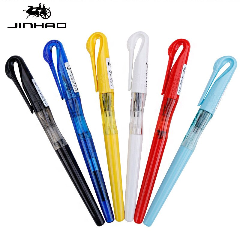 Pluma estilográfica de cisne bonito y creativo, pluma con capucha de plástico, pluma de 0,38mm para negocios, bolígrafo de tinta F Nib, bolígrafo para escribir a mano con 7 papelería de colores