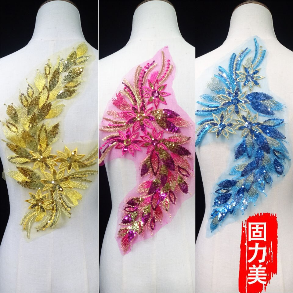 2 piezas zafiro azul marino Rojo Dorado lentejuelas flor Pavo Real pluma bordado vestido brillo parche Apliques de encaje decorativos