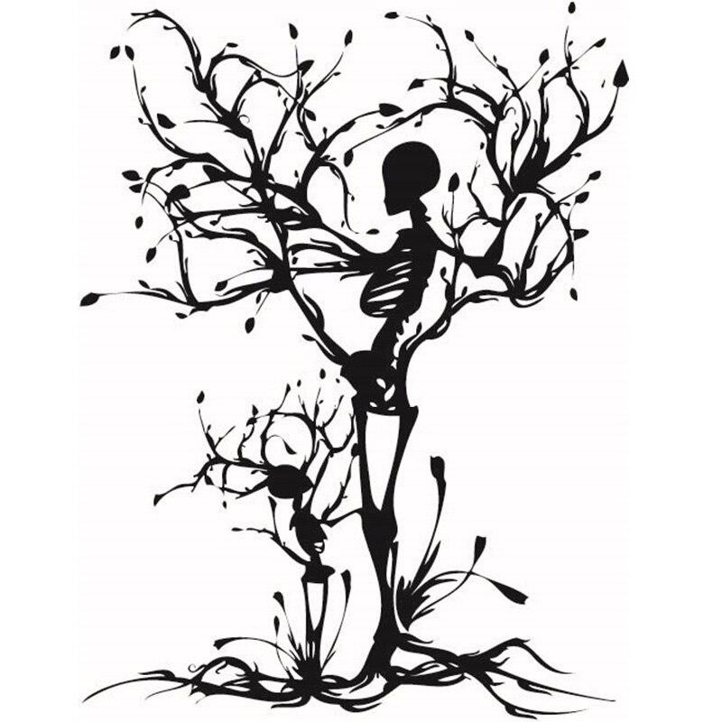 En venta, calaveras con personalidad, árbol, propuesta para sala de estar, grabado de vinilo, calcomanía, pegatina para fiesta de Halloween, decoración del hogar