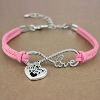 Hot Sale Minimalist Friendship Antique Silver Infinity Love Best Friends Dog Paw Lover Charm Women's Bracelets for Women