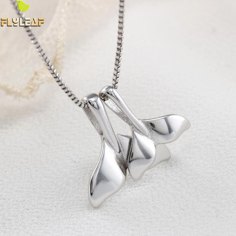 100% 925 Sterling Silver Double Whale Tail Necklaces & Pendants For Women Flyleaf Creative Lady Fashion Jewelry