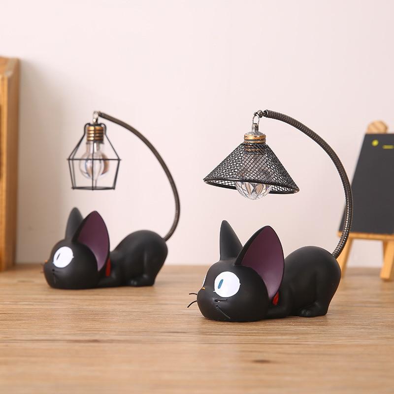 Creativa romántica Animal gato resina luz de noche artesanías escritorio Decoración LED lámpara de noche niños estudiantes presente Lámpara de lectura