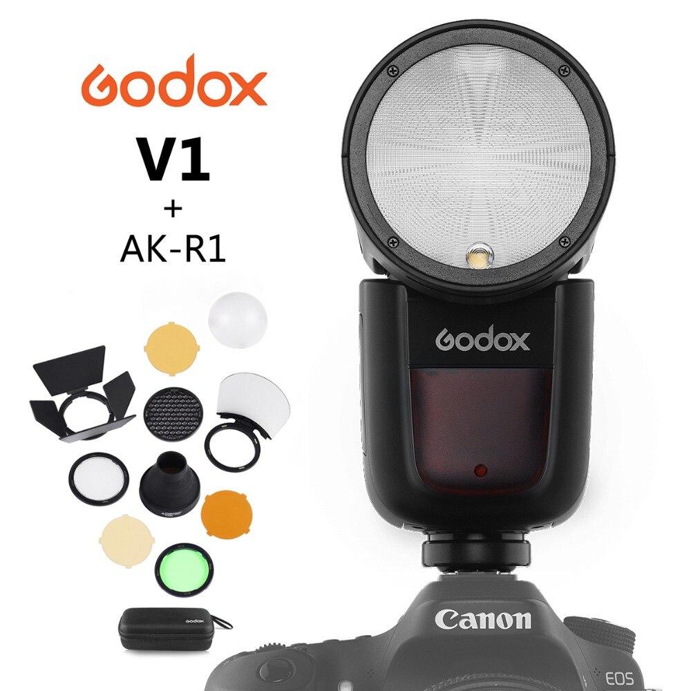 Godox V1 Flash redondo en cámara Speedlight para cámara SONY NIKON CANON R2 TTL linterna con AK-R1 Xpro Flash Triger