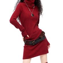 Frauen Lange Aufflackernhülse Kaschmir Wolle Rollkragen Vintage Pullover Kleid Frauen Winter Schwarz Weiß Rot Chinesischen Warm Casual Dress