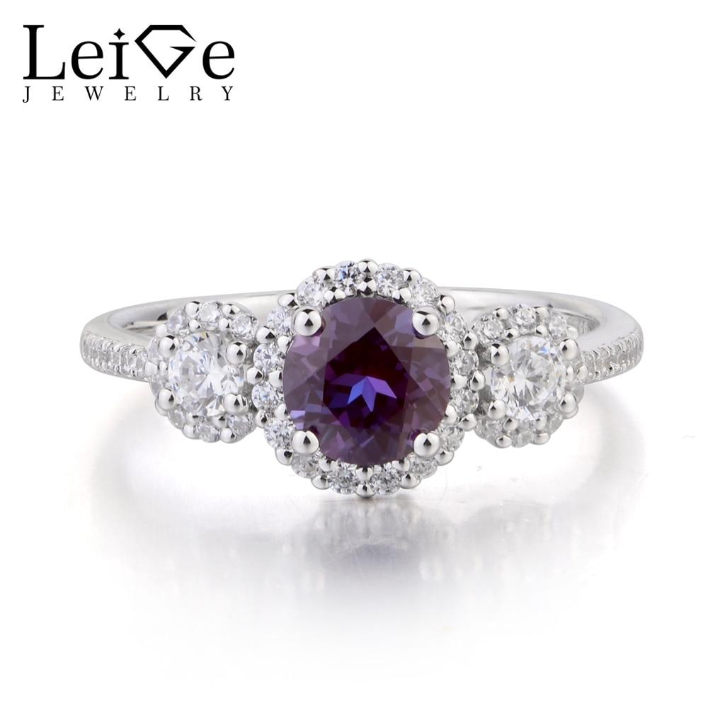 Leige bijoux Lab Alexandrite anneau de mariage bague ronde coupe pierre gemme 925 bague en argent Sterling trois anneaux de pierre de naissance juin