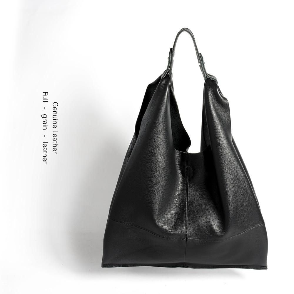 New Casual Women Hobo Bag Soft Genuine Cow Leather Fashion Shoulder Bags Female Large Tote Bucket Shopping Handbag&Liner Bag