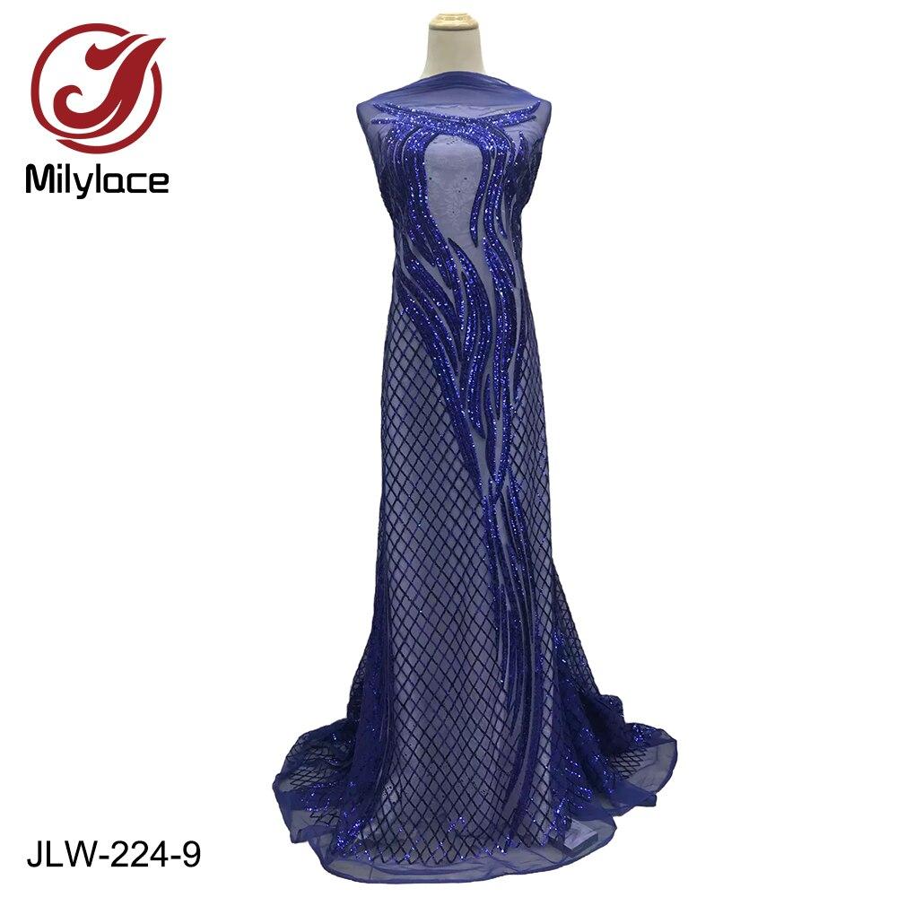 Diseños Únicos, apliques brillantes, tela de encaje francés, encaje de malla con seqiuns, 5 yardas, personalizado para vestidos de boda de fiesta, JLW-224