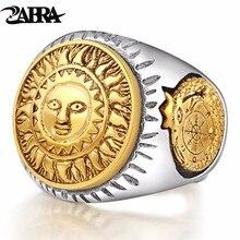 ZABRA 925 Sterling Silver Men Ring Gold Color Sun God Smile 3D Dinosaur Sculpture Adjustable Size Vintage Punk Handmade Jewelry