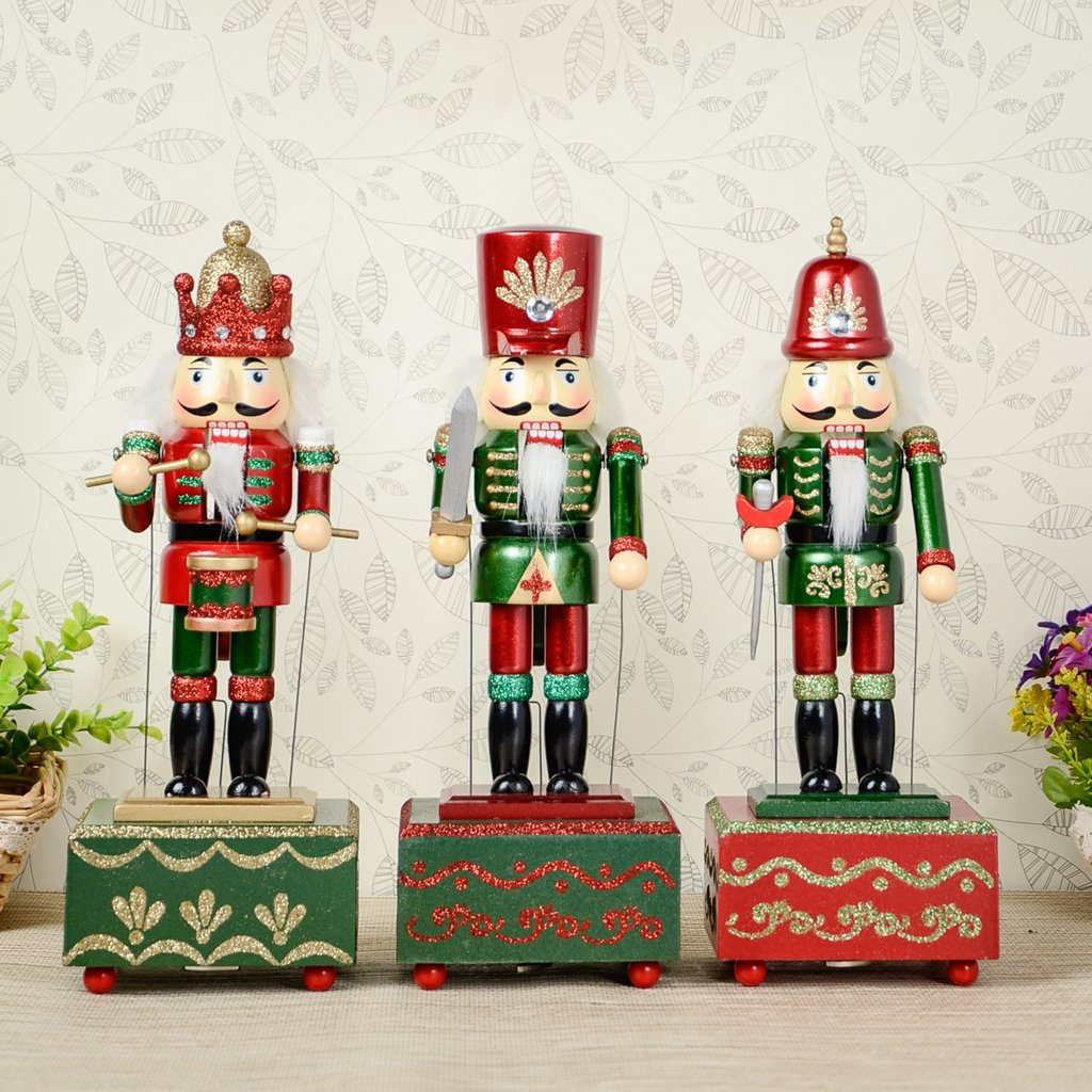 boneca colecionavel de madeira quebra nozes 32cm caixa de musica para decoracao de