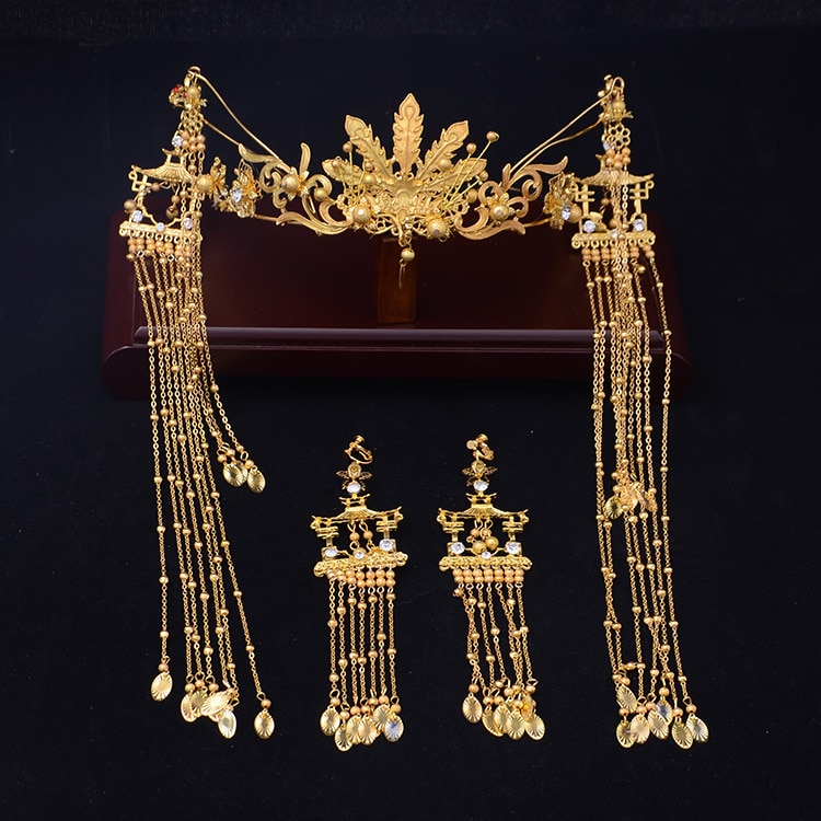 Novo traje do ouro headwear nupcial estilo Chinês dragão Phoenix Phoenix coroa hoop cabelo longo Borla acessórios do casamento