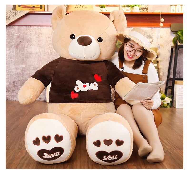Peluche de peluche de 160 cm, oso de peluche de felpa, oso de tela de amor, cojín de muñeco suave, regalo de cumpleaños h2502
