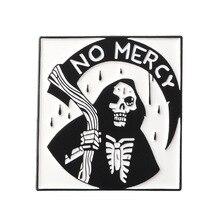 الظلام الموت دبابيس لا رحمة الجحيم المنجل الهيكل العظمي المينا دبوس أسود رداء الشيطان الجمجمة هالوين مجوهرات هدايا الاطفال القوطية شارة