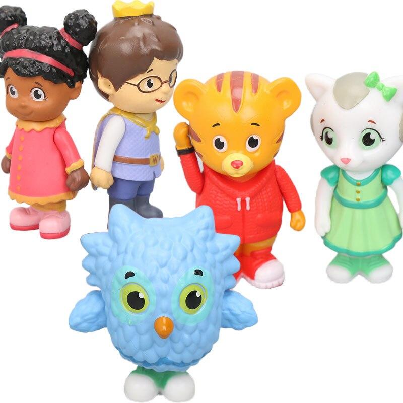 Pack of 5pcs Daniel Tiger's Neighborhood Friends Figures Set Daniel Tiger Prince Elaina Owl Katerina Collectible Model Dolls Toy