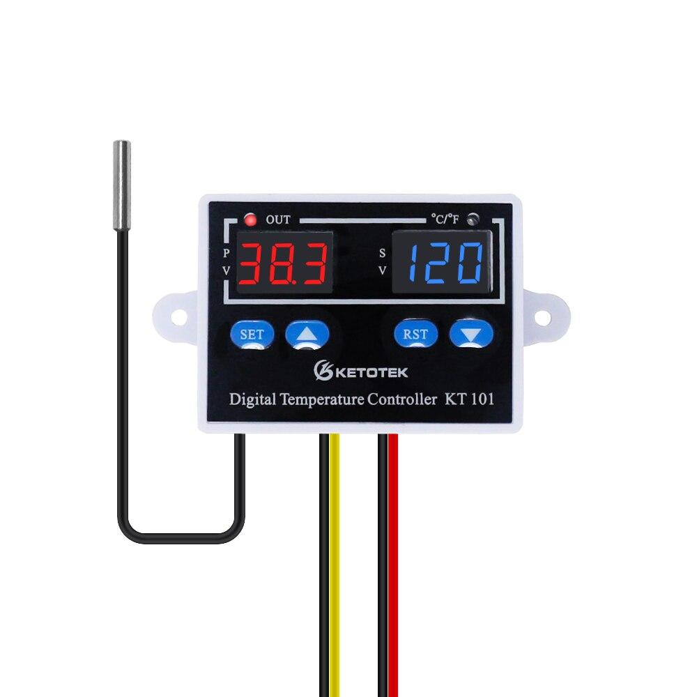 Termostato Digital KT101 regulador de temperatura C/F salida directa 10A termostato interruptor de Control de temperatura termostato
