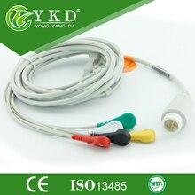 5 pièces/lot Compatible Mindray T5/T6/T8 ecg câble 5 plomb Snap 12 broches médical TPU