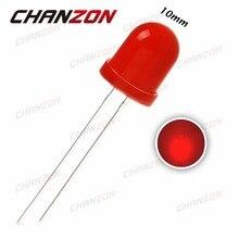 50 adet 10mm LED Diyot Kırmızı Dağınık Işık (620-625nm) 20mA DC 2 V DIP 10mm led ışık Yayan Diyot Ampul Delik Diyot Lambası