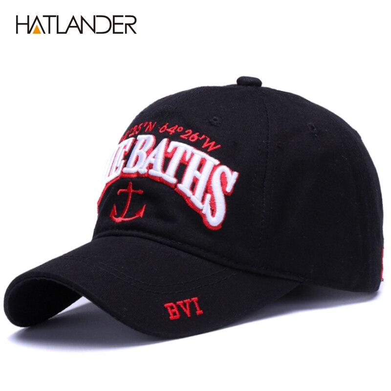 Gorras de béisbol de algodón con ancla bordada de HATLANDER, gorras deportivas de moda, gorras ajustables para el sol al aire libre, gorra con Cierre trasero, gorras suaves para papá