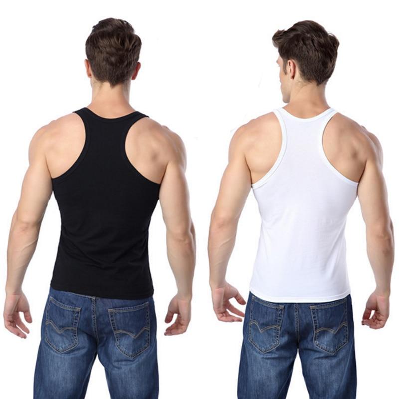 Regata masculina sexy cor sólida sem mangas camisas camisas undershirts musculação singlets stringer muscular colete roupa interior apertada