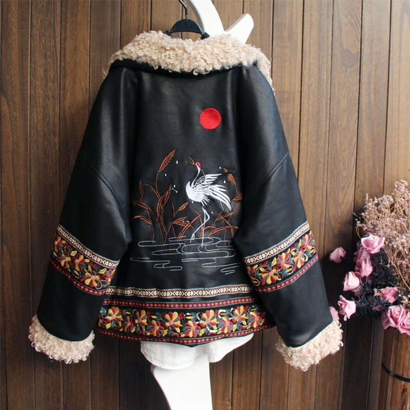 ZURICHOUSE Retro Winter Faux Leather Jacket Women Lambswool Embroidery Outwear 2021 Exotic PU Leather Plush Locomotive Jackets enlarge