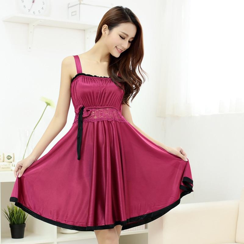 Solid Chiffon Nightgown Temperament Sexy Silk Nightdress Women Pijama Summer Lace Temptation Princess Sleepwear