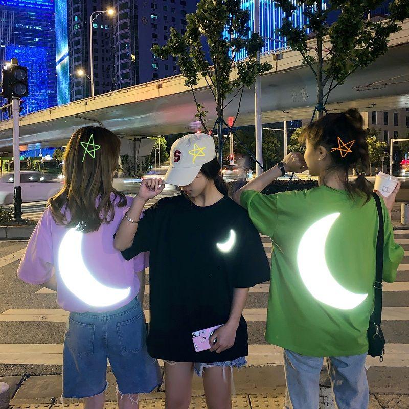 Camisetas para mujer, camisetas con cuello redondo y luz reflectante en la noche, camisetas para estudiantes, camisetas sueltas para mujer, ropa de verano, manga corta