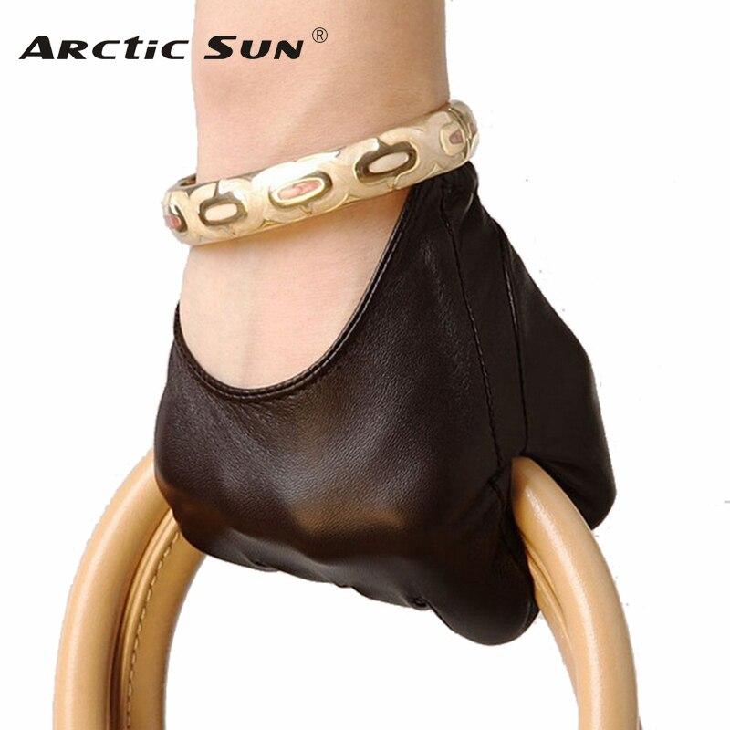 Gran oferta, guantes de piel auténtica para mujer, moda de párrafo corto, guantes de media palma de piel de cordero, guantes de piel de cordero, L098N