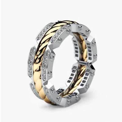 Huitan Noble Classic Punk Finger Rings Two Tone Tyre Shaped Design Euro Stylish Unisex Accessories Rings Wholesale Lots&Bulk