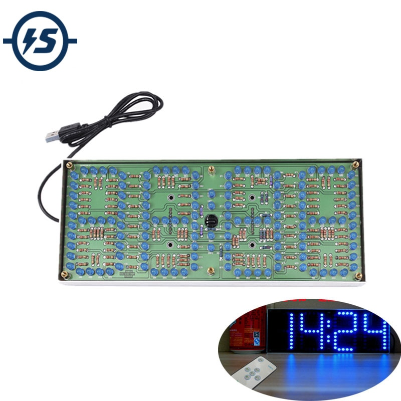 Набор для сборки часов «сделай сам», набор с синим дисплеем, электронный набор с пультом дистанционного управления, 132 шт., 5 мм светодиодных часов