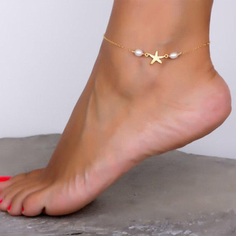 Tobilleras de playa simples, joyería Bohemia para pies, borla, cadena para pierna, estrella de mar, pulsera para el tobillo, pulsera para mujer, accesorios