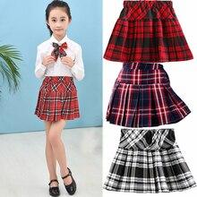Jupe courte à carreaux pour filles, jupes plissée demi-longue, vêtements printemps, mode