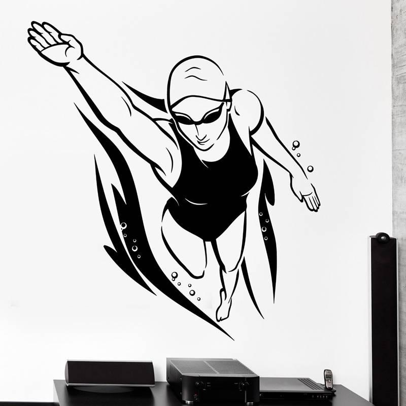 DCTAL Swim Sticker Logo Name Swimmer Decal Swimming Posters Vinyl Wall Decals Pegatina Quadro Parede Decor Mural Swim Sticker