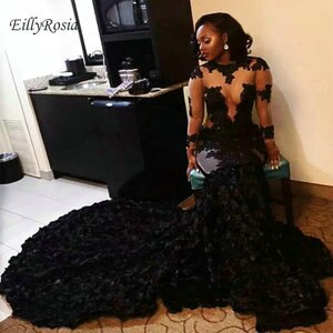 Mermaid Black Evening Dresses with Illusion Long Sleeves Sexy See Through Flower Lace Appliques Black Girl Prom Dress Party Gown