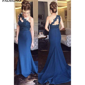 Navy Blue Evening Dresses Lace Appliques One Shoulder Mermaid Beading Sweep Train Sexy Evening Dress plus Size
