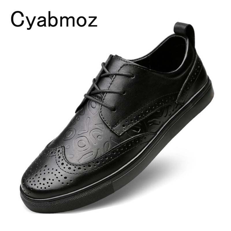 Cyabmoz zapatos casuales de cuero genuino para hombre, zapatos de moda para hombre, zapatos Oxford transpirables y con cordones para hombre, grandes tamaño