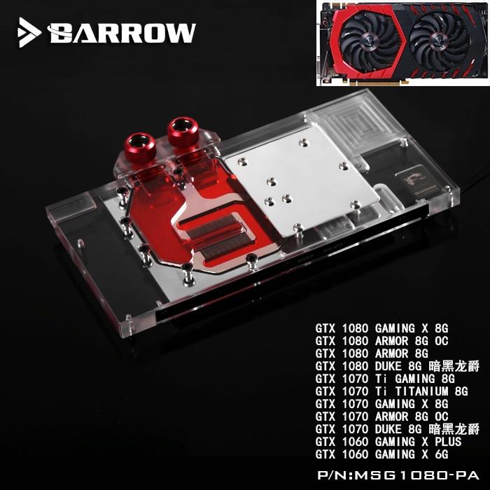 BARROW Full Cover Graphics Card Block use for MSI ARMOR/GTX1080/1070/1060 GAMING X DUKE GPU Radiator Block RGB to AURA 4PIN
