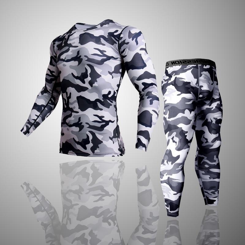 2 Piece Tracksuit Men Compression MMA Long sleeve t shirt Rashgard kit Camouflage  Sweatshirt+leggings Fitness Thermal underwear