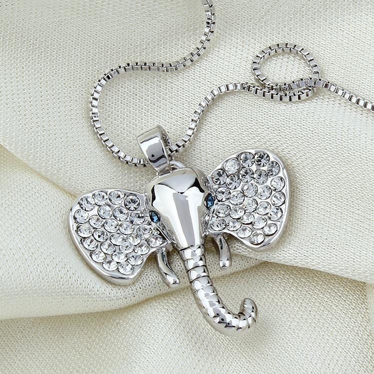 Novo 2015 jóias indianas ouro-cor feminino jóias orelhas grandes o elefante cabeça pingente colar por atacado jóias (ax0085)