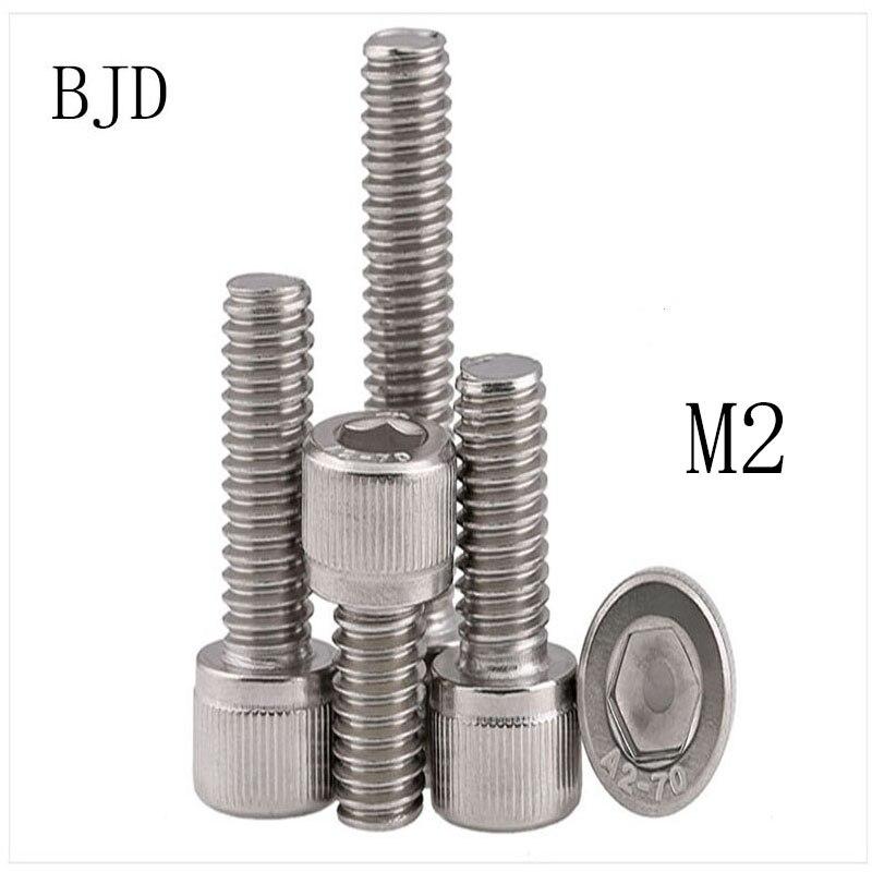 100 Uds tornillos M2 2mm GB70 M2 * 3/4/5/6/8/10/12/14/16/18 Acero inoxidable mini tornillos internos de seis ángulos tornillo fijo para juguetes