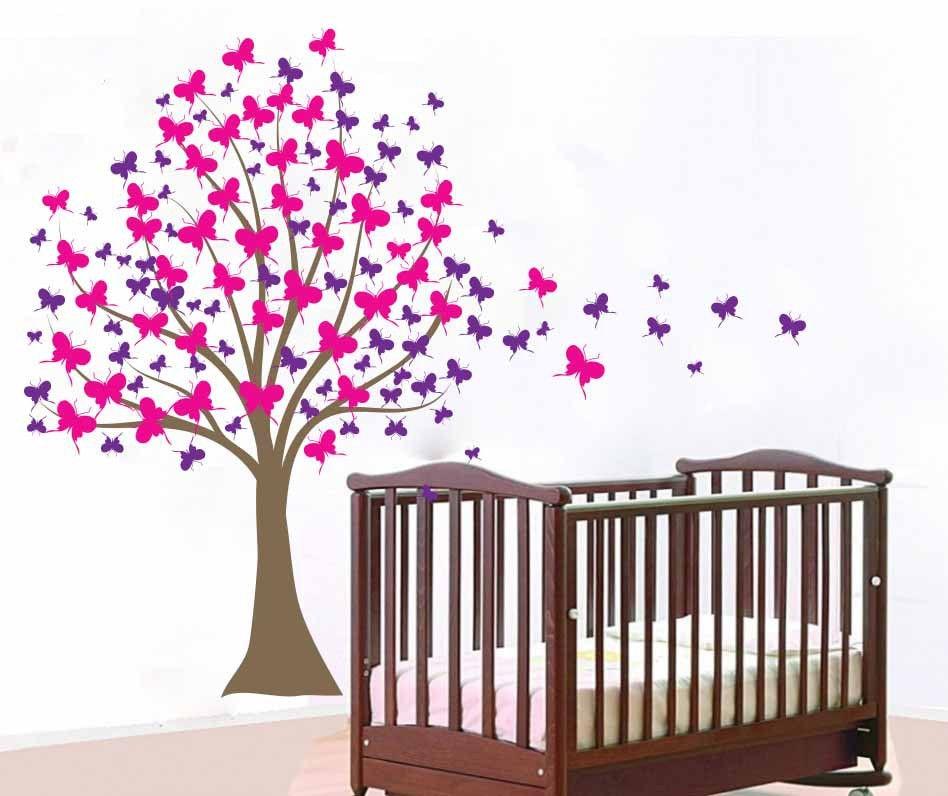 Pegatina de pared de árbol grande para bebé niña, Vinilos de pared para niños, habitación, árbol de manualidades, pegatina con Mural de mariposas Vinilos D806