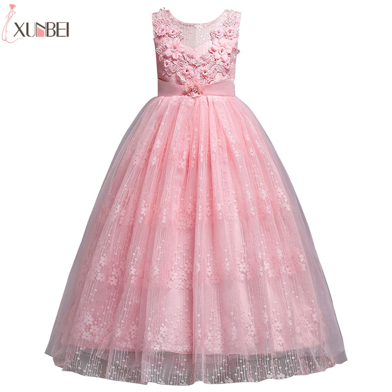 new arrival princess short sleeves lace flower girl dresses 2019 pink appliqued ball gowns for girls first communion dresses Beautiful Flower Girl Dresses Lace 2019 Appliqued Ball Gown Pageant Dresses For Girls First Communion Dresses Kids Prom Dresses