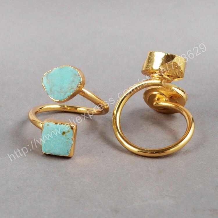 BOROSA высокое качество, 5 шт./лот, модные кольца золотого цвета с натуральным двойным кристаллом Druzy, подарок для женщин G0183