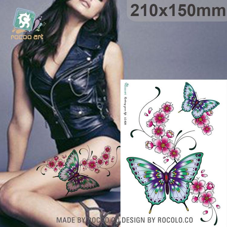 LC-828/nuevo 2016 3D grande Sexy mariposa falsos temporales tatuajes adhesivos tatuaje corporal para señora mujer tatuaje temporal