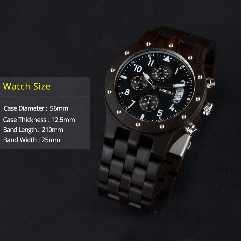 BEWELL Luxury Brand Men Wood Watch Man Waterproof Hour Men's Chronograph Analog Digital Quartz Clock Relogio Masculino 109D enlarge