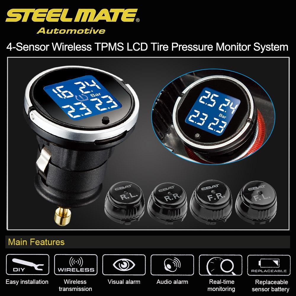 Steelmate ebat ET-710AE 4-sensor sem fio tpms lcd sistema de monitor de pressão dos pneus